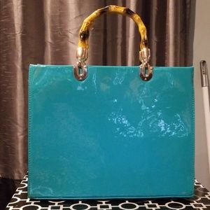 Extra Large Turquoise Handbag with Bamboo Handles